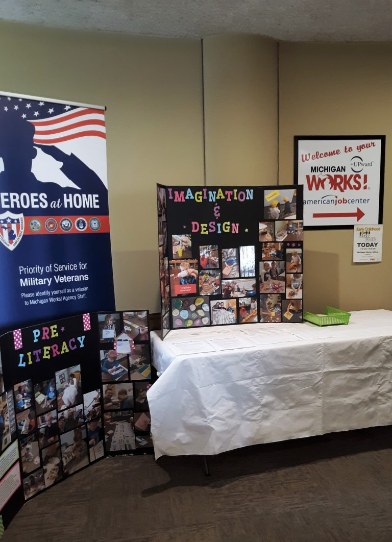 Informative booth set up for the early childhood job fair