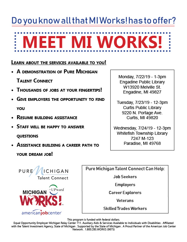 Meet MI Works! Event Flyer for Engadine Library