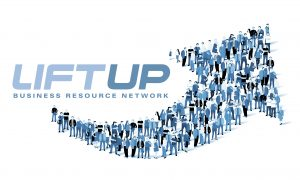 LiftUP Business Resource Network logo featuring an arrow made of drawn people.
