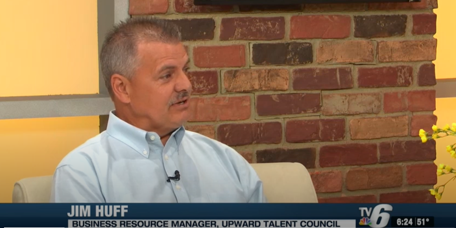 Jim Huff, BRN Manager being interviewed on TV6. Closeup.