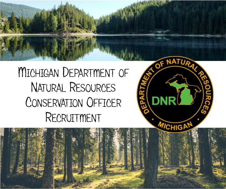 A job advertisement for the Michigan Department of Natural Resource. It is a combination of two pictures and the Michigan Department of Natural Resources logo. It features a lake and trees in the top picture, and a forest with a mossy floor in the other.