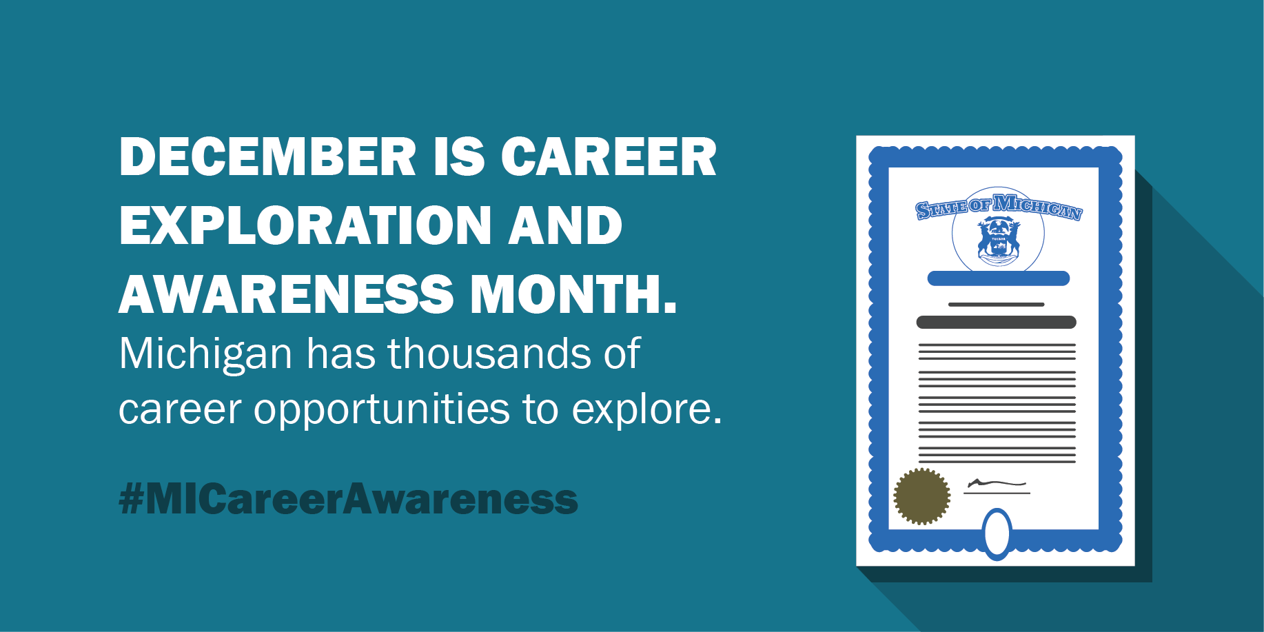 """Stock photograph from the State of Michigan that reads, """"December is Career Exploration and Awareness Month. Michigan has thousands of career opportunities to explore. #MICareerAwareness."""""""