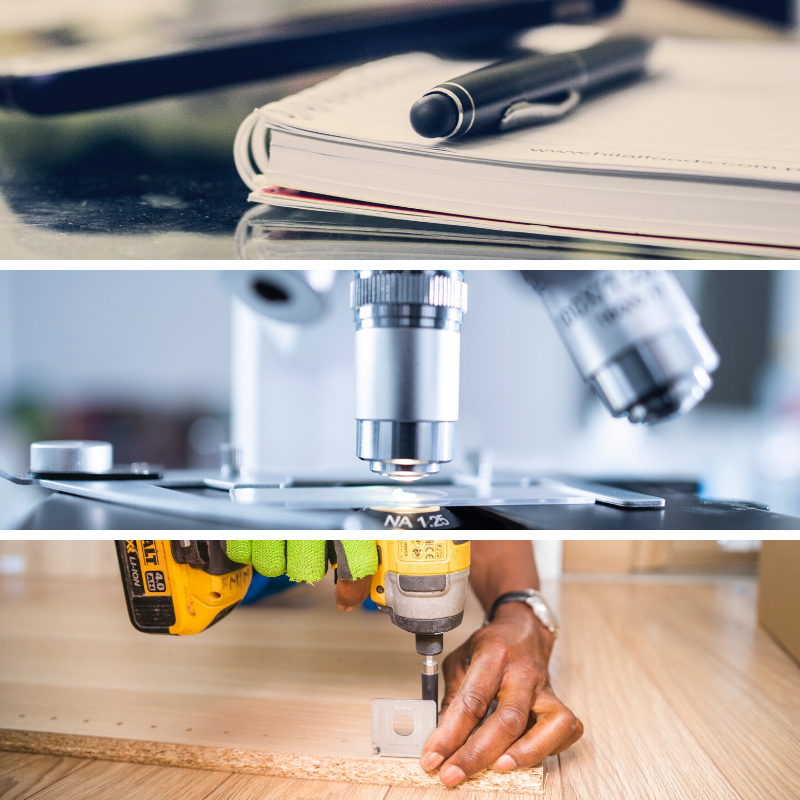 Stock image of a pen laying on a notebook, a microscope examining a sample, and a person using a power drill on a screw.