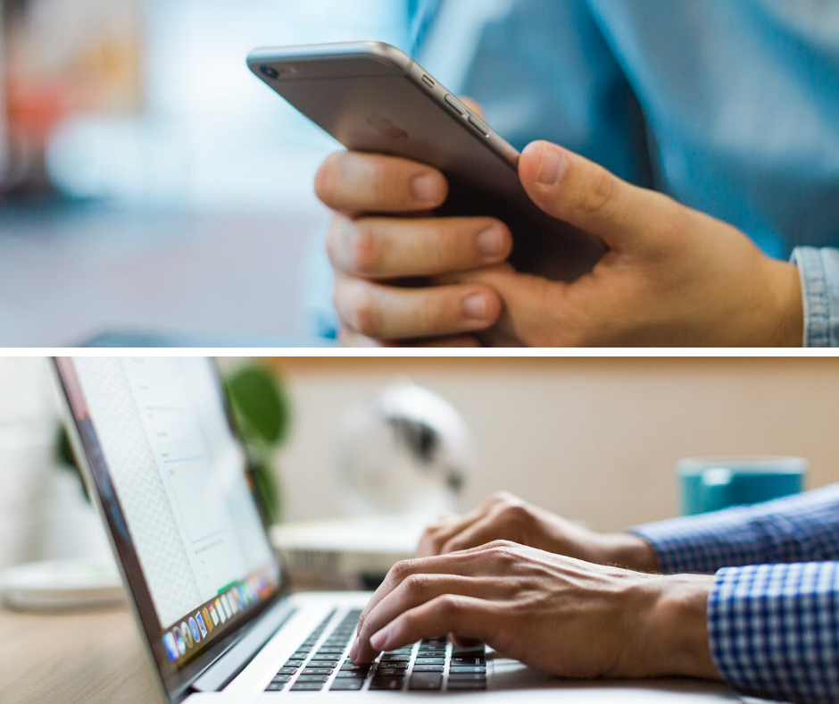 Image of a man on an iphone, and another image of a man on a laptop computer.