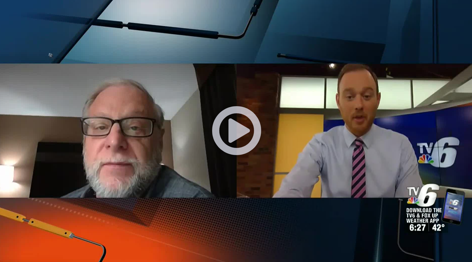 A screenshot of Bill Raymond and Andrew Lacombe during a virtual interview regarding UP Jobs Now.