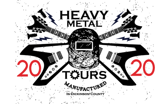 The heavy metal tour logo with two crossing guitars and a welding helmet.
