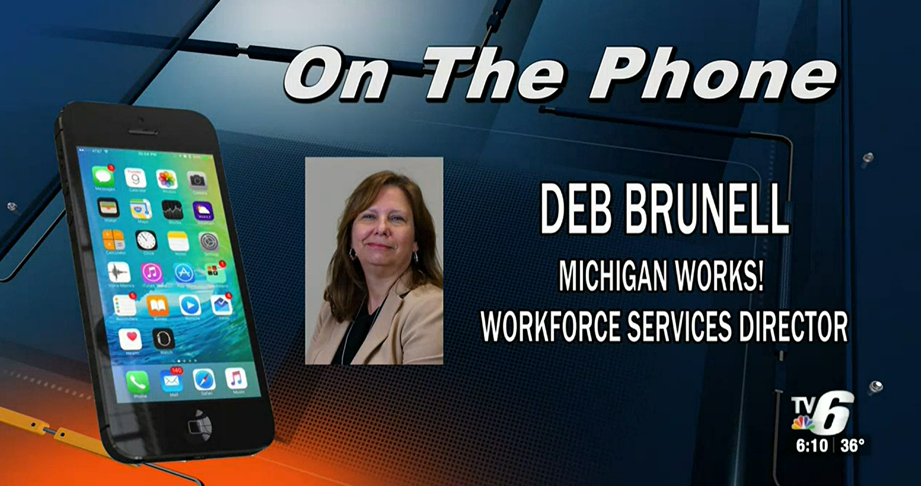 A screenshot from a video interview featuring Debb Brunell and TV 6.