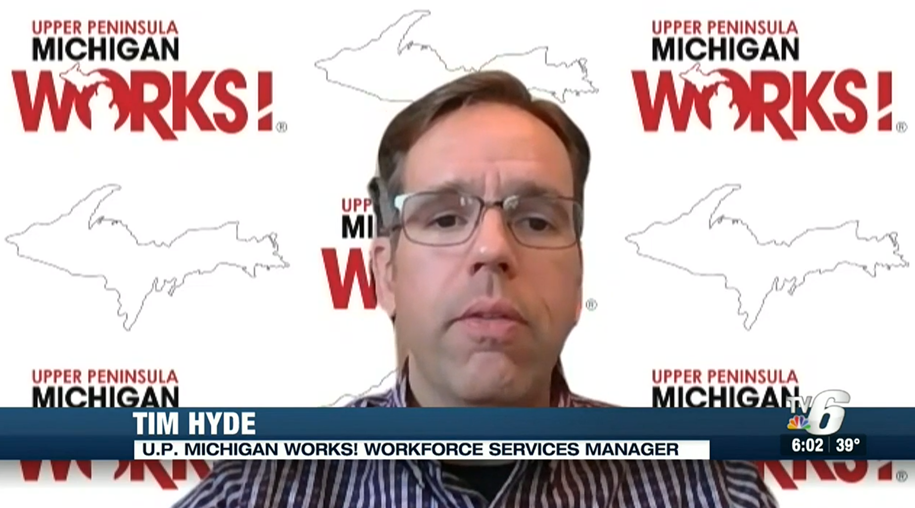A screenshot of Tim Hyde's interview with TV 6.