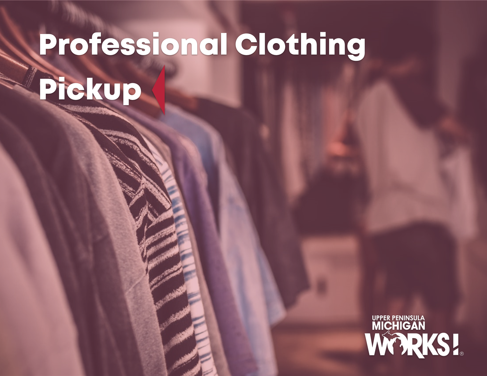 Professional clothing pickup social media graphic with UPMW logo.